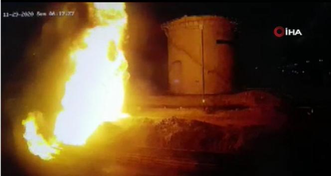 Irak'taki petrol rafinerisine saldırı anı kamerada